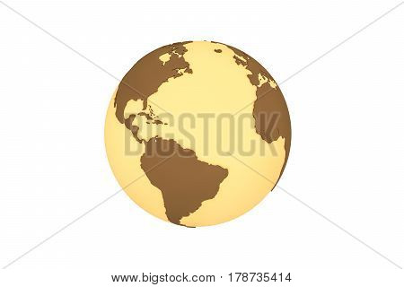 3d illustration of the 3d world geopolitically extruded isolated on white background