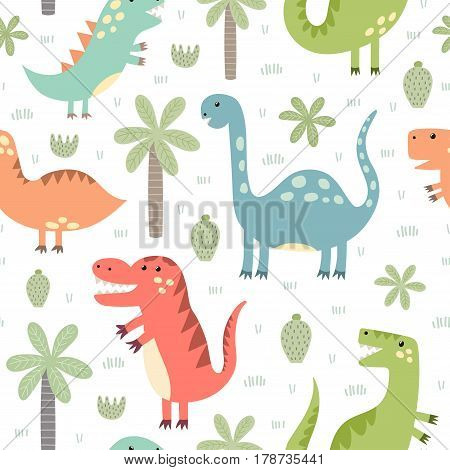 Cute dinosaurs seamless pattern. Vector illustration in childish style great for fabric and textile, wallpapers, web page backgrounds, cards and banners design