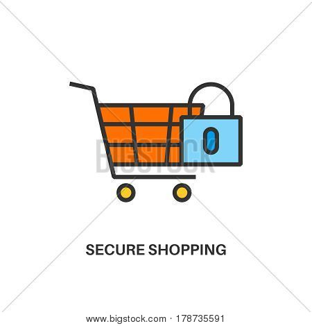 Secure shopping. Internet security information protection outline linear icon