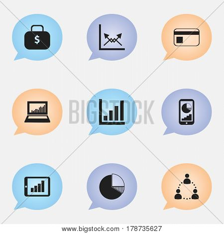 Set Of 9 Editable Logical Icons. Includes Symbols Such As Circle Diagram, Equalizer Display, Phone Statistics And More. Can Be Used For Web, Mobile, UI And Infographic Design.