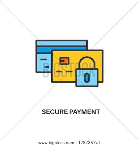 Secure payment. Internet security information protection outline linear icon