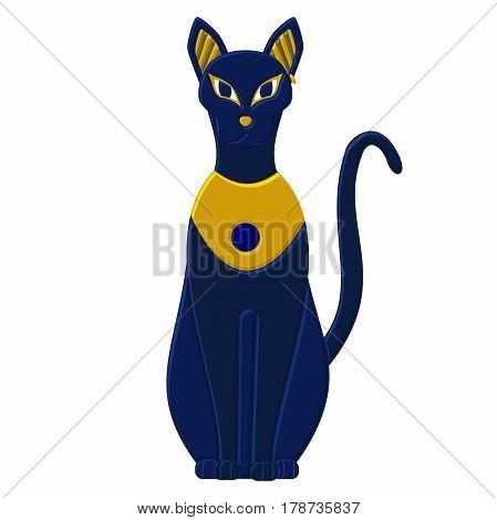 Statue cat egypt - goddess Bastet. Egyptian idols. Isolated