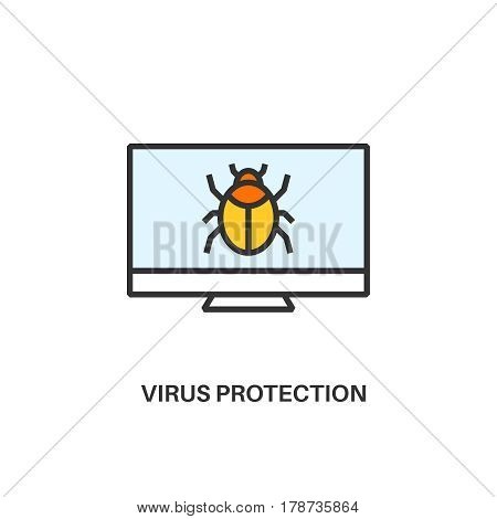 Virus protection. Internet security information protection outline linear icon