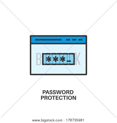 Password protection. Internet security information protection outline linear icon