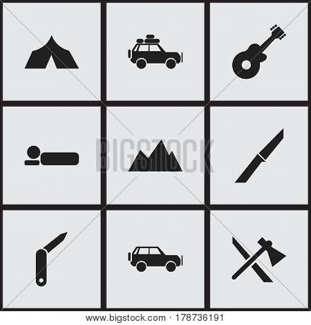 Set Of 9 Editable Camping Icons. Includes Symbols Such As Bedroll, Peak, Clasp-Knife And More. Can Be Used For Web, Mobile, UI And Infographic Design.