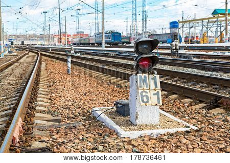 SAMARA RUSSIA - MARCH 26 2017: View of the railway track at the Samara railway station in sunny day