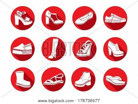 Shoes Set Of Vector Flat Icons. White Icons Sandals, Boots, Low Shoe, Ballet Slippers, High Boot, Gu