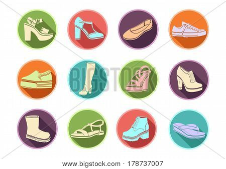 Shoes Set Of Vector Flat Icons. Multicolored Icons Sandals, Boots, Low Shoe, Ballet Slippers, High B