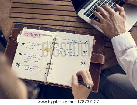 Businessmen Women Work Notebook Agenda
