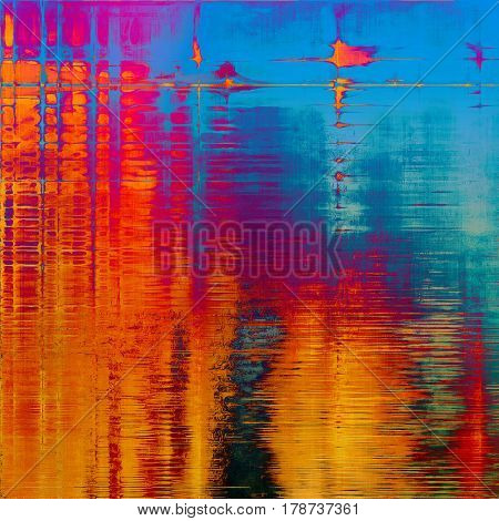 Old grunge background or aged shabby texture with different color patterns: yellow (beige); blue; red (orange); purple (violet); cyan; pink