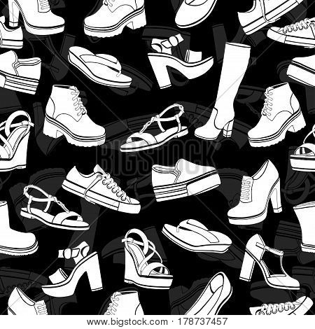 Shoes vector background, seamless pattern. White sandals, boots, low shoe, ballet slippers, gumshoes, knee-high boots, ankle boots, slip-on, loafer on a black backdrop, monochrome illustration