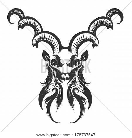 Engraving illustration of the Capricorn Head. Zodiac symbol isolated on white.