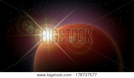 Star rise over the planet in the night sky space. Colorful Space background. Vector illustration
