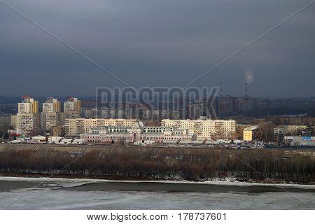 main fair building in Nizhny Novgorod on the Oka river