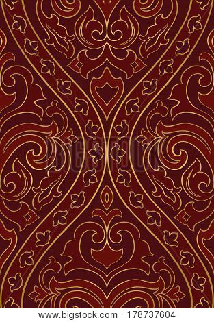 Red abstract pattern. Seamless filigree ornament. Colorful template for wallpaper textile shawl carpet and any surface.