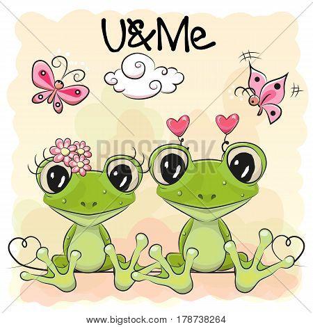 Two Cute cartoon Frogs on orange background