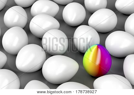 Concept image with one unique colorful egg among other white eggs, 3D illustration