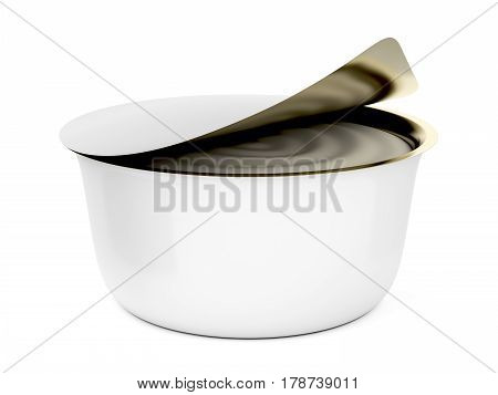 Can with margarine butter or cream cheese on white background, 3D illustration