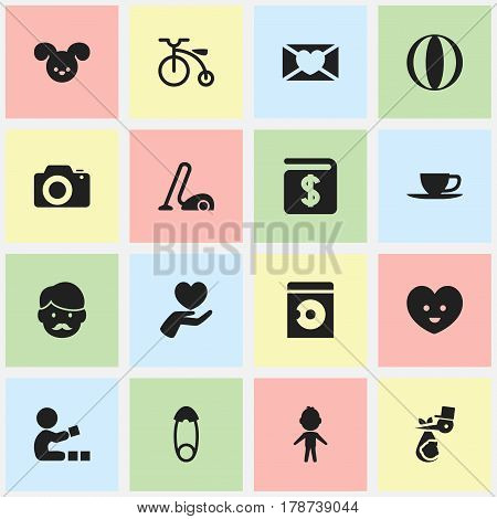 Set Of 16 Editable Family Icons. Includes Symbols Such As Heart, Photo Device, Boy And More. Can Be Used For Web, Mobile, UI And Infographic Design.