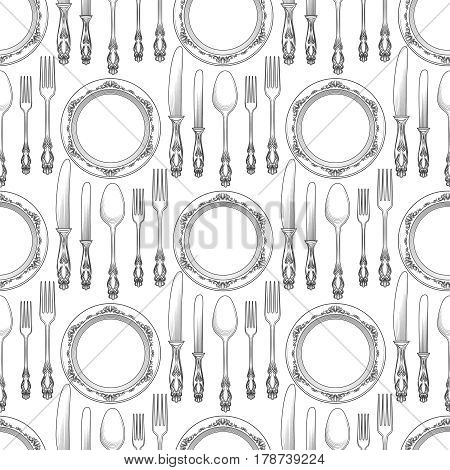 Table setting seamless pattern vector illustration. Background with plate and cutlery