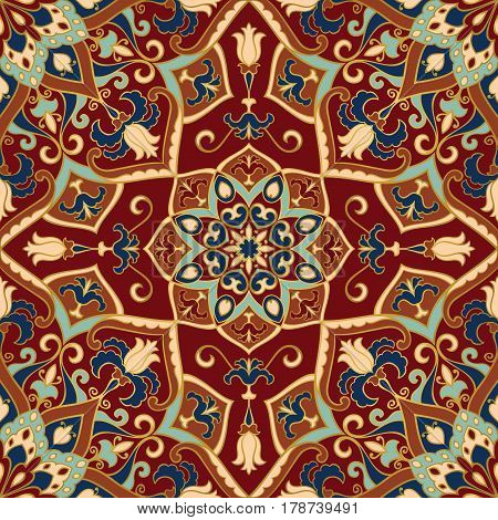 Colorful oriental ornament of mandalas. Template for the shawl carpet textile and other surfaces.