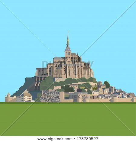 Mont Saint-Michel - tidal island, town and abbey. France. Vector illustration EPS10