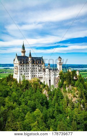 Neuschwanstein castle. One of the most famous and beautiful castle in the world.