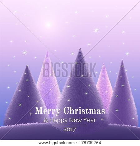 Christmas trees on violet background landscape. Magic forest  in the night sky. Vector illustration greeting card Merry Christmas and Happy New Year. Template.