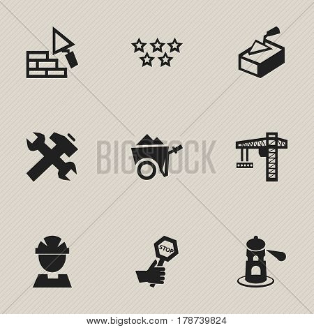 Set Of 9 Editable Building Icons. Includes Symbols Such As Seamark, Renovation, Facing And More. Can Be Used For Web, Mobile, UI And Infographic Design.