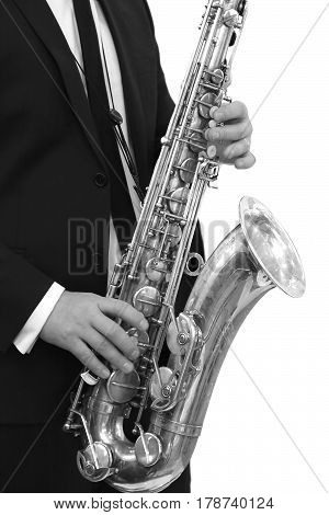 Alto Saxophone Classical Jazz Musician black and white image