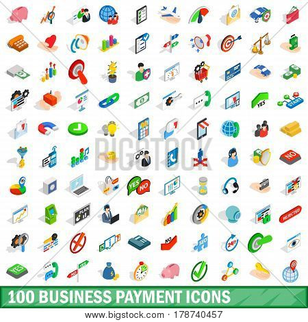 100 business payment icons set in isometric 3d style for any design vector illustration