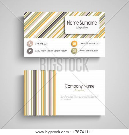 Business card with colorful retro stripes template vector eps 10