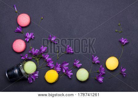 Colorful Macaron, Tasty Cookies In Silver Metallic Pail