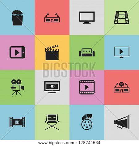 Set Of 16 Editable Filming Icons. Includes Symbols Such As Record Cam, Start Video, Film Glasses And More. Can Be Used For Web, Mobile, UI And Infographic Design.