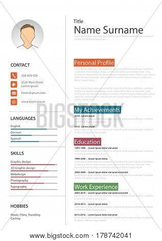 Professional white resume cv template vector eps 10