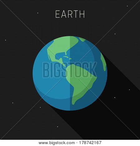 Earth planet in flat style with long shadow. Vector simple illustration of solar system with earth planet.