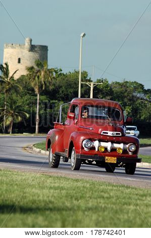 Varadero, Cuba, July 14, 2006 - Vintage 1951 Ford F1 pickup, in Varadero. It is believed that 60,000 US cars from pre-embargo age are still in use in Cuba.