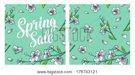 Seamless pattern sakura blossom. Spring Sale lettering. Cherry branch with flowers and bud. The petals are falling and fly. Vector color vintage engraving illustration. Isolated on turquoise background.