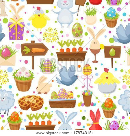 Easter seamless background.Religious holiday pattern from rabbit, pigeon, colored eggs, chickens and other traditional symbols of Easter.Cartoon style vector illustration