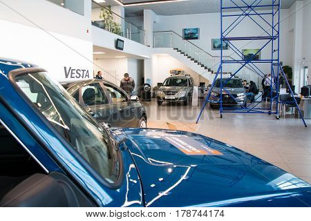 Showroom And Car Lada Of Dealership Gusar Of Factory Avtovaz In Kirov City In 2016