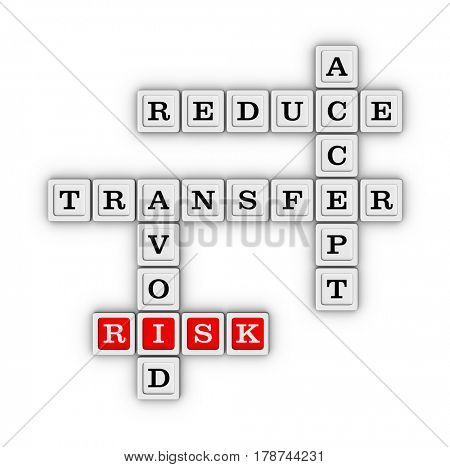 Risk Management Strategies Crossword - Accept, Avoid, Reduce and Transfer. Risk manage concept. 3D illustration on white background.
