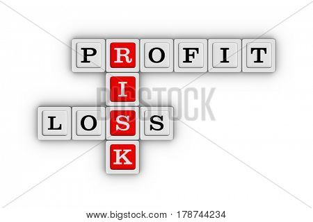 Business Risk, Profit and Loss Crossword Puzzle. Risk Manegement concept. 3D illustration on white background.