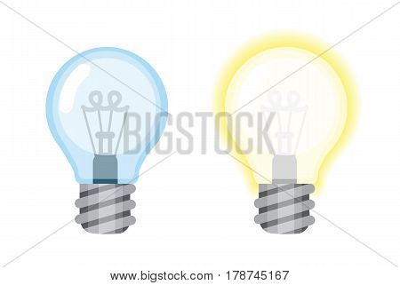light bulb glowing and turned off electric , vector illustration.