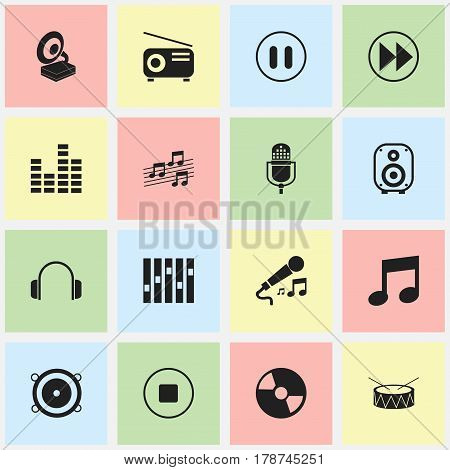 Set Of 16 Editable Music Icons. Includes Symbols Such As Equalizer, Rewind, Bass Speakers And More. Can Be Used For Web, Mobile, UI And Infographic Design.