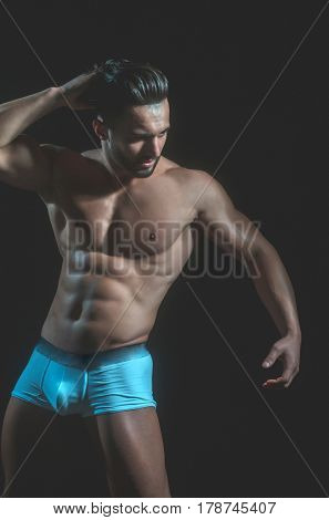 Handsome Muscular Macho Man With Sexy Athlete Body In Pants