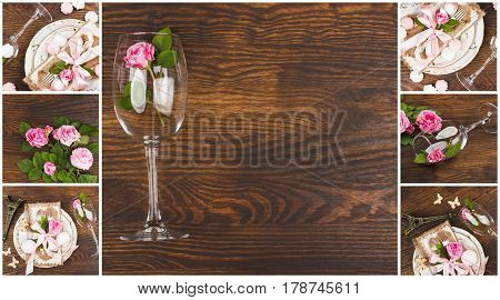 Tableware and silverware with puffy light pink roses on the wooden background top view