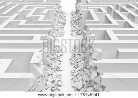 3d rendering of a white maze in front bottom view cut in straight line in half with rubble on the edges. Severe changes. Mazes and labyrinths. Finding the way out.
