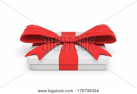 3d rendering of white flat gift box with a red ribbon bow isolated on white background. Giving presents. Celebration. Promotions and sales.
