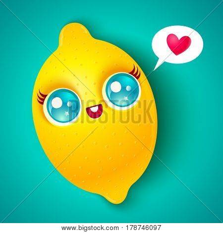 Vector illustration of a cute lemon with heart. Kawaii lemon on bright background.