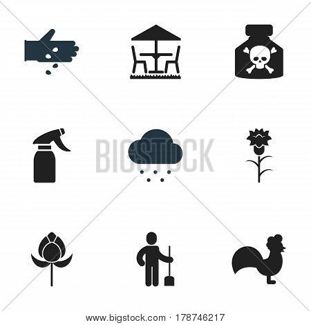 Set Of 9 Editable Plant Icons. Includes Symbols Such As Seed Planting, Glass Cleaner, Garden Seat And More. Can Be Used For Web, Mobile, UI And Infographic Design.